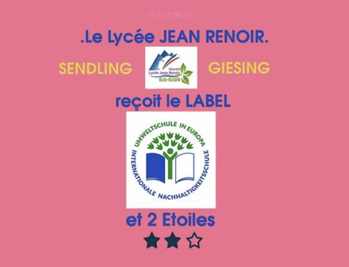 Le lycée Jean Renoir reçoit le label Umweltschule et 2 étoiles